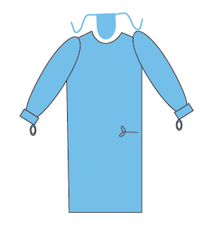 Surgical Gown with thumb loops and sewn face mask