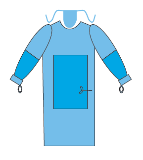 reinforced Surgical gown with thumb loops and sewn face mask
